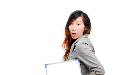 Business woman hold white blank paper. Smart Asian woman show bl
