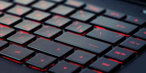 Modern red backlit keyboard