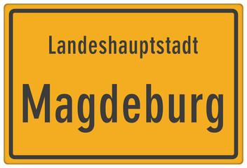 Schild Landeshauptstadt Magdeburg