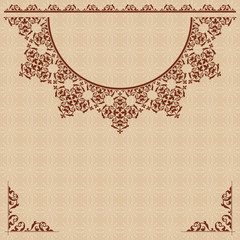 beige background with vintage ornament - vector