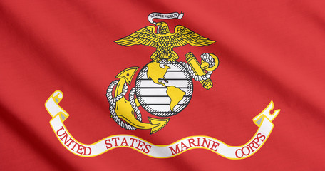 US Marine Corps flag waving