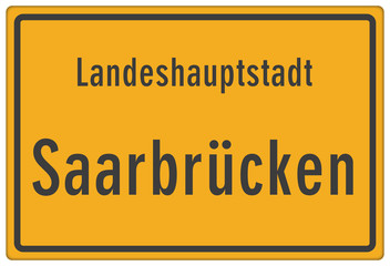 Schild Landeshauptstadt Saarbrücken