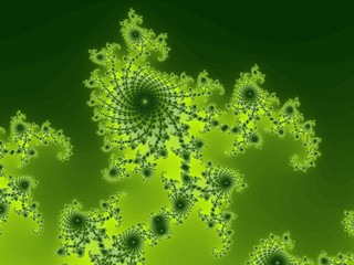 Decorative fractal spirals in a green colors.