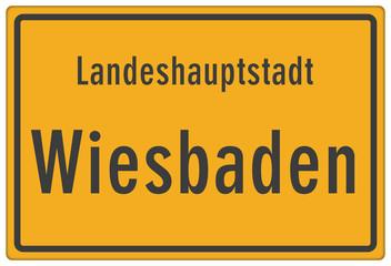 Schild Landeshauptstadt Wiesbaden