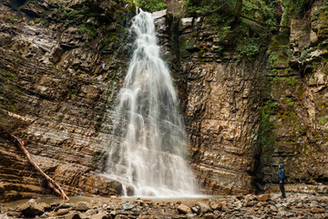 Panoramic view of big waterfall