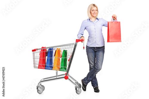 Woman holding a shopping bag and pushing a shopping cart