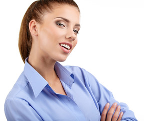 Smiling corporate woman posing isolated over white