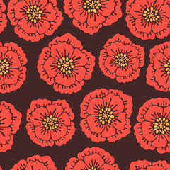 Seamless floral pattern with blooming poppies.