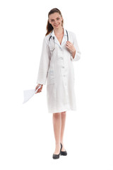 Happy smiling female doctor isolated on white background