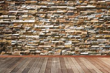 Brown Bricks Wall and wooden floor