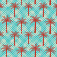 Palm tree inspired retro vector seamless pattern background