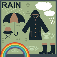 Rain related objects and symbols vector set 1