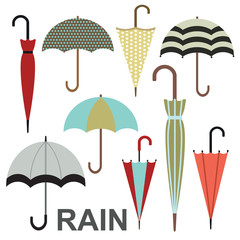 Umbrellas vector illustration set