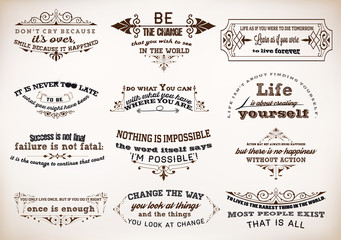 Set of Quotes Posters, Vector Design. Motivational Quotes for In
