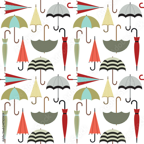 Vector seamless pattern with umbrellas - 67620819
