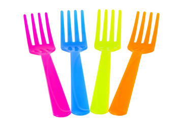 color spoon fork dish plastic isolated white background