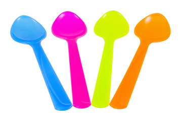 Color plastic tableware dishes , spoon