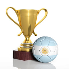 Golden trophy and ball with flag of Argentina isolated