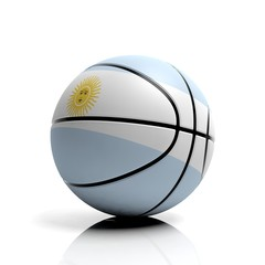 Basketball ball flag of Argentina isolated on white background