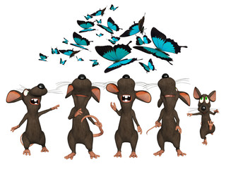 3d cartoon mice looking upwards to butterflies