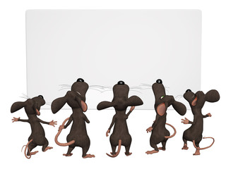 cartoon 3d mice with a blank frame