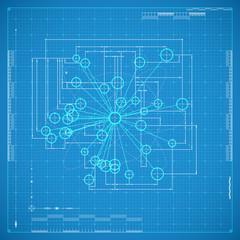 Blueprint of molecule. Stylized vector illustration.