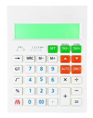 Calculator on display on white background