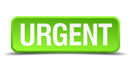 Urgent green 3d realistic square isolated button