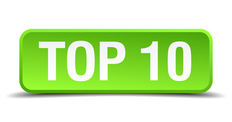 Top 10 green 3d realistic square isolated button