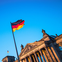 Schland Flag in front of the Reichstag building