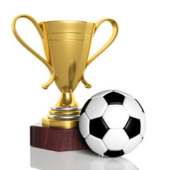 Golden trophy and classic soccer ball isolated