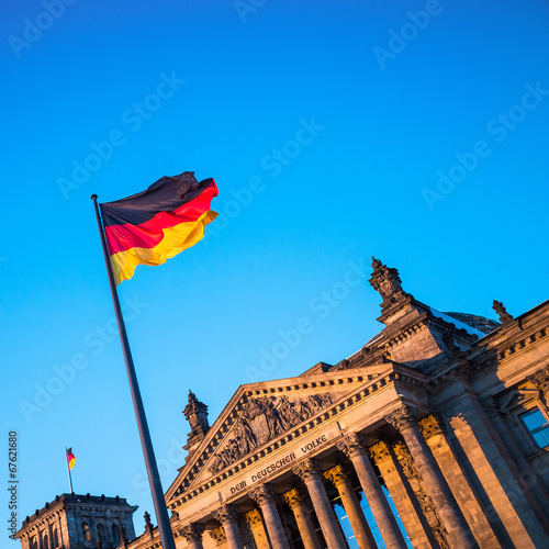 canvas print picture Schland Flag in front of the Reichstag building