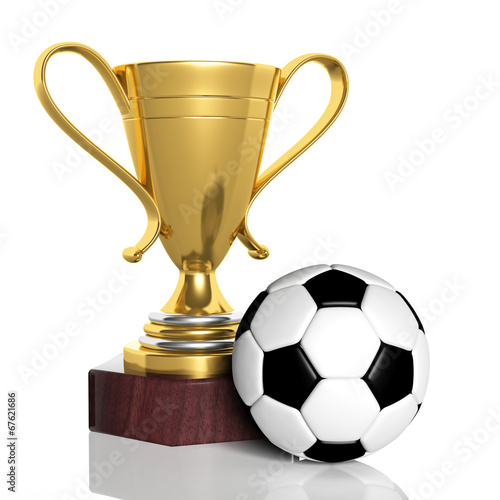 canvas print picture Golden trophy and classic soccer ball isolated