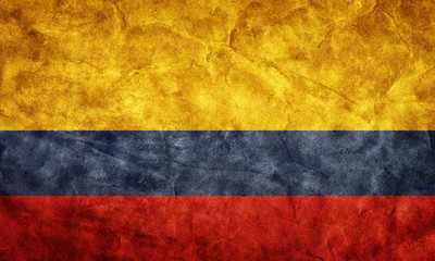 Colombia grunge flag. Item from my vintage flags collection