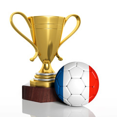 Golden trophy and ball with flag of France isolated