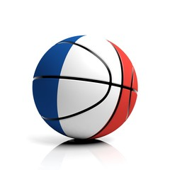 Basketball ball flag of France isolated on white background