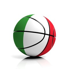 Basketball ball flag of Italy isolated on white background