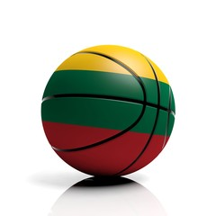 Basketball ball flag of Lithuania isolated on white background