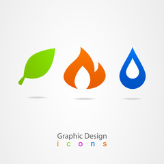 graphic design drop leaf flame logo icon web