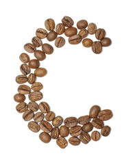 Letter C arranged from coffee beans top view isolated