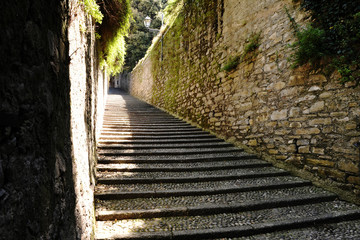 Flight of cobbled steps in Bellagio, Lake Como
