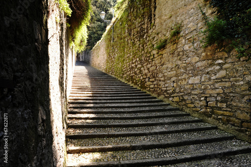 canvas print picture Flight of cobbled steps in Bellagio, Lake Como