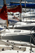 Detail of moored yachts in a harbour