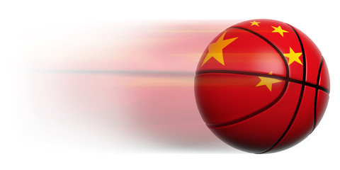 Basketball ball with flag of China in motion isolated