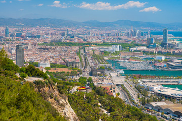 Barcelona in a sunny summer day