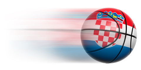 Basketball ball with flag of Croatia in motion isolated