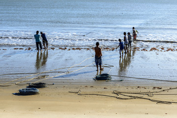 People fishing on the beach, Pititinga (Brazil)