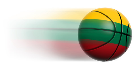 Basketball ball with flag of Lithuania in motion isolated