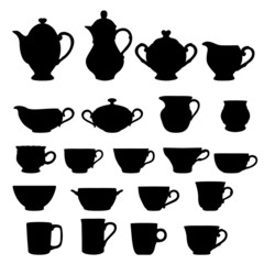Set of cups and teapots