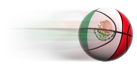 Basketball ball with flag of Mexico in motion isolated